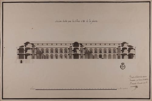 Sección CD de una casa mesón de carruajes y arriería, con capacidad para ciento cincuenta pesebres