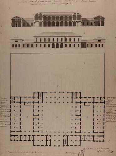 Planta, alzado de la fachada principal y sección transversal de un parador en despoblado donde pueden hospedarse toda clase de personas, caballerías y carruajes