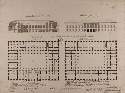 Plantas baja y principal, alzado de la fachada principal y sección AB de una casa fonda para la Corte