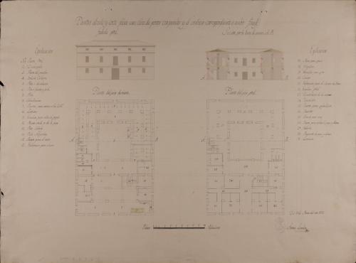 Plantas baja y principal, alzado de la fachada 3 principal y sección AB de una casa de postas con parador y el servicio correspondiente a ambos fines