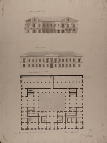 Planta, alzado de la fachada principal y sección AB de una casa de postas y parador