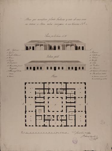 Planta, alzado de la fachada principal y sección AB de un mesón en los márgenes de un camino real