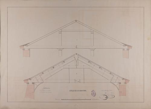 Detalles de las armaduras de la cuadra y cobertizos de un posada para un pueblo de carretera general