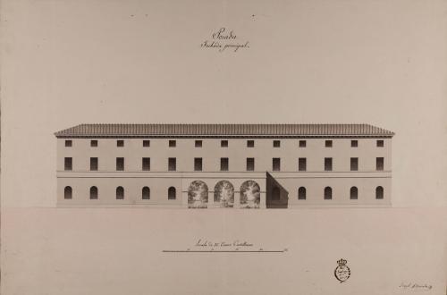 Alzado de la fachada principal de una posada