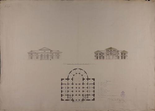 Planta, alzado de la fachada principal y sección de una fonda