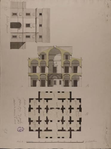 Planta, alzado de la fachada principal y sección AB de una casa de correos para una villa de 2000 vecinos