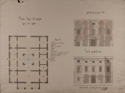 Planta baja, alzado de la fachada principal y sección AB de una casa con destino a estafeta de correos para una villa de 2000 vecinos