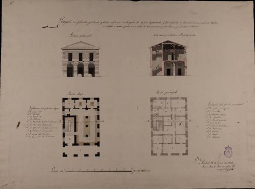 Plantas baja y principal, alzado de la fachada principal y sección AB de una casa de correos para una villa de 2000 vecinos