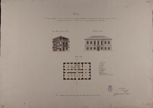 Planta baja, alzado de la fachada principal y sección AB de una casa de correos para una villa de 2000 vecinos