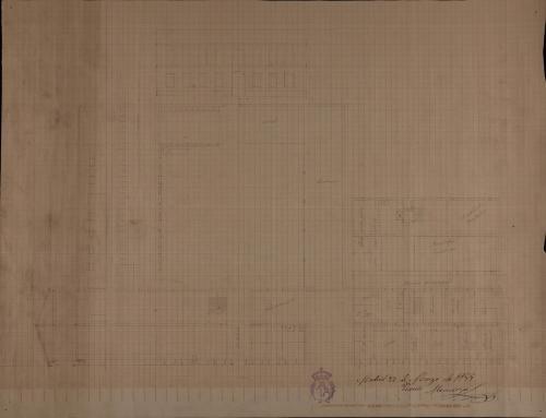 Plantas baja y principal, alzado de la fachada principal y sección de una casa de correos para una villa de 2000 vecinos