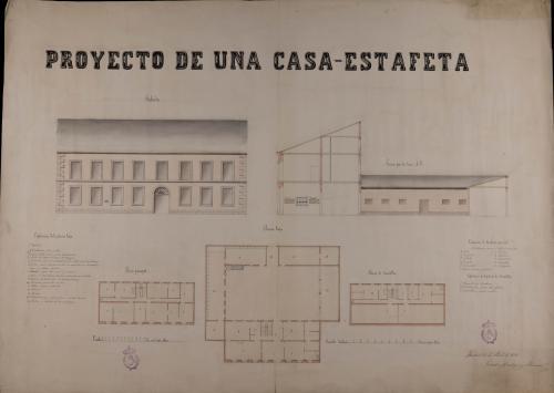 Plantas baja, principal y de buhardillas; alzado de la fachada principal y sección AB de una casa de correos para una villa de 2000 vecinos