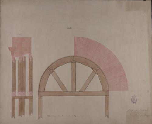 Detalle y sección de un arco y sus cimbras de una casa de correos para una villa de 2000 vecinos