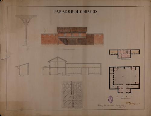 Plantas baja y principal; alzado de la fachada principal; secciones AB y por las líneas CDEFGH; detalles de un pie y de la puerta principal de un parador de correos y diligencias