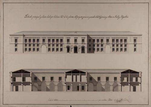 Alzado de la fachada principal y sección CD de un parador de diligencias y postas, con fonda y hospedería