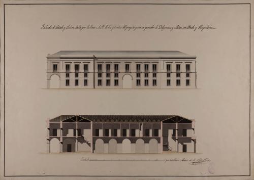 Alzado de la fachada lateral y sección AB de un parador de diligencias y postas, con fonda y hospedería
