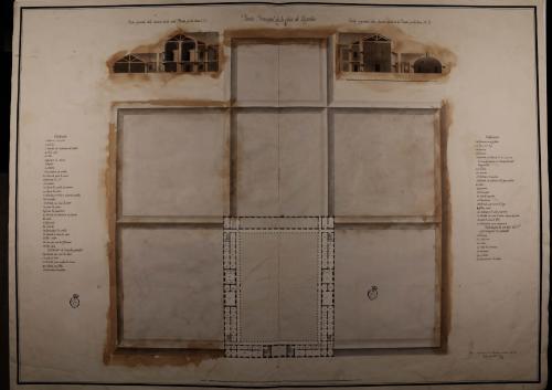 Plantas principal y de cubiertas, y las secciones AB y CD de una casa de esquileo para sesenta mil cabezas por temporada y con habitación para el dueño