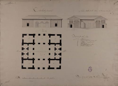 Planta, alzado de la fachada principal y sección AB de un matadero de reses mayores y menores para una ciudad