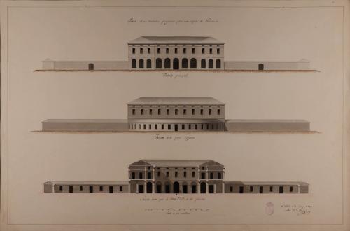 Alzado de las fachadas principal y posterior, y sección AB de un matadero para una capital de provincia