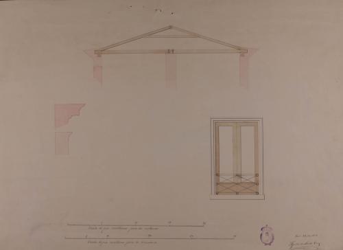 Detalle en grande de una ventana y sección de la armadura y la cornisa de un herradero para toda clase de ganados