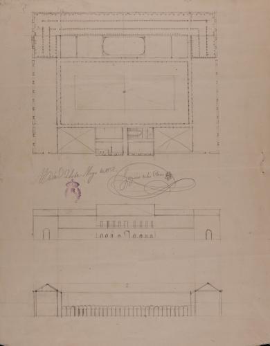 Planta, alzado de la fachada principal y sección de un cocedero de vino con bodega, para la fabricación y venta de una cosecha de 40000 arrobas