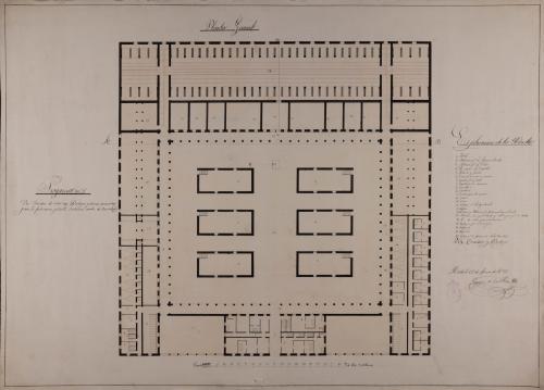 Planta general de un cocedero de vino con bodega, para la fabricación y venta de una cosecha de 40000 arrobas