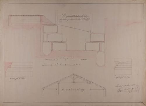 Sección CD con la disposición de los toneles en la bodega y detalles de la armadura de cubiertas, cornisas e impostas de un cocedero de vino con bodega, para la fabricación y venta de una cosecha de 40000 arrobas