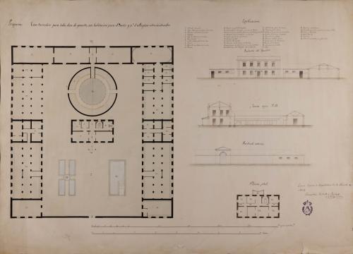 Planta general y principal de la vivienda, alzado de la fachada exterior y de apeadero, y sección AB de una casa herradero para toda clase de ganados, con habitación para el dueño