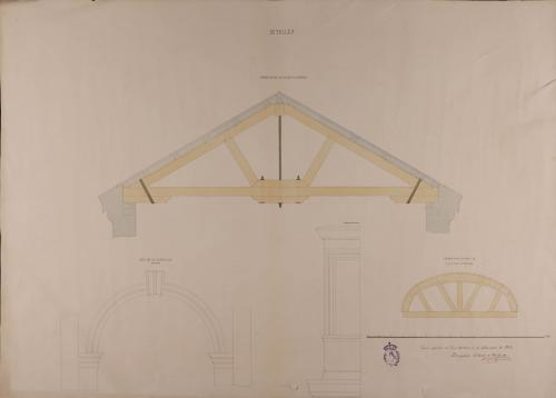 Detalle de la armadura de la crujía posterior, de la cimbra para los arcos de las naves laterales, del arco de la puerta de entrada y de la ventana balcón de una casa herradero para toda clase de ganados, con habitación para el dueño
