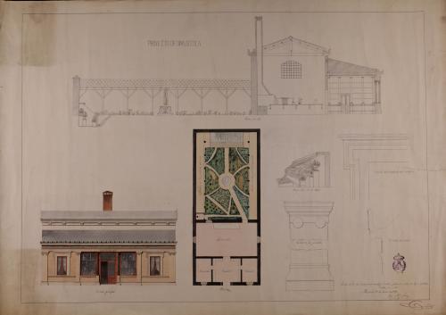 Planta, alzado de la fachada principal, sección AB, perspectiva de la estufa y detalles de las pilastras, las molduras de las ventanas y el alero de una botica