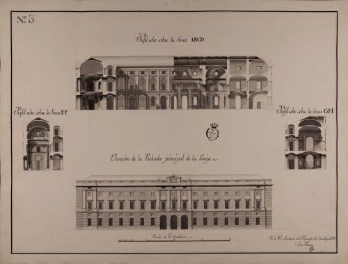 Alzado de la fachada principal y secciones ABCD,EF y GH de un lonja de comercio con tribunal