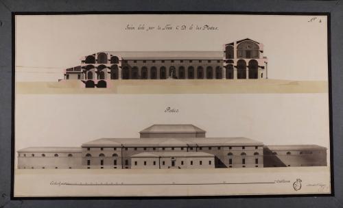 Alzado de la fachada posterior y sección CD de un edificio público con destino a esta Corte, para la custodia y venta al por mayor y menor de toda especie de comestibles