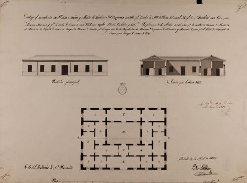 Planta, alzado de la fachada principal y sección AB de una casa para albacería, mercería y venta de carnes, en una población regular