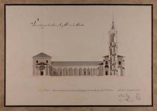 Sección AB de un edificio público con destino a Zamora, para la custodia y venta al por mayor de toda especie de víveres