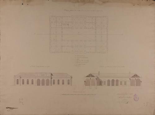 Planta, alzado de la fachada principal y sección de un peso real para la venta de comestibles