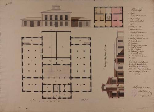 Plantas baja y principal, alzado de la fachada principal y las secciones ABCD de un matadero de reses mayores y menores para una ciudad