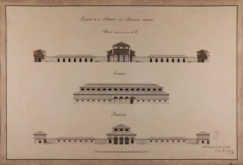 Alzado de la fachada principal y lateral, y sección AB de un matadero con mercado cubierto