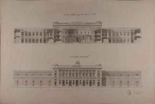 Alzado de la fachada principal y sección AB de un bazar de comercio y manufacturas