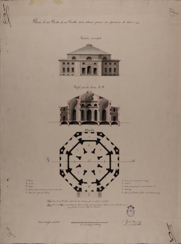Planta, alzado de la fachada principal y sección AB de un pósito de un pueblo para granos con separación de clases