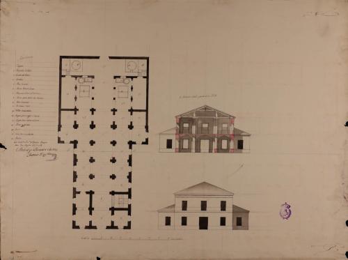Planta, alzado de la fachada y sección AB casa de alfar con vivienda para el fabricante