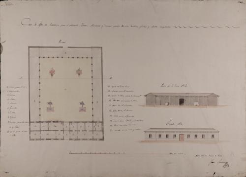 Planta, alzado de la fachada principal y sección AB de una casa de alfar con vivienda para el fabricante