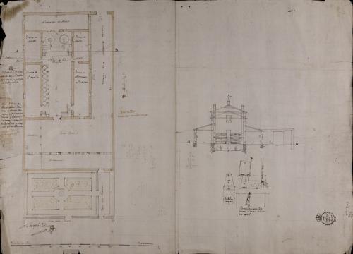 Planta, sección AB y detalles del horno de una fábrica de jabón