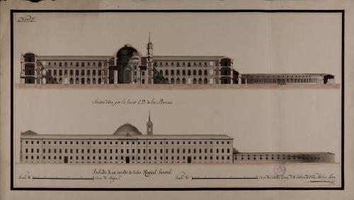 Alzado de la fachada lateral y sección CD de un hospital general para Zaragoza o para otra gran población