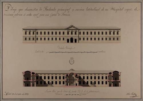 Alzado de la fachada principal y sección AB de un hospital capaz para 300 enfermos, con destino a una capital de provincia