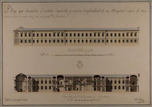 Alzado de la fachada lateral izquierda y sección CD de un hospital capaz para 300 enfermos, con destino a una capital de provincia