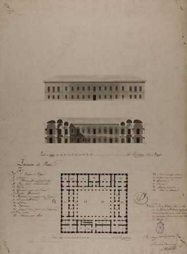 Planta, alzado de la fachada principal y sección AB de un hospital