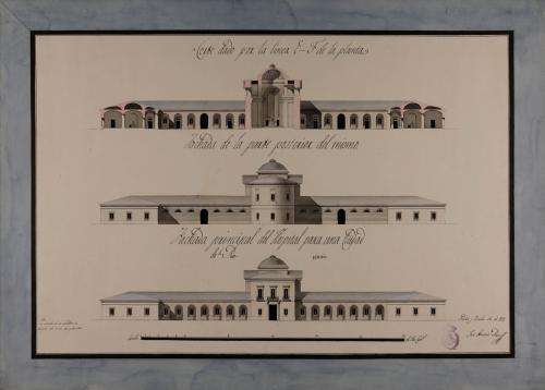 Alzado de la fachada principal y posterior, y sección EF de un hospital para una capital de provincia