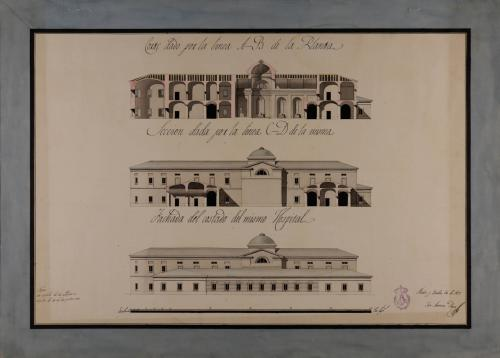 Alzado de la fachada lateral y las secciones AB y CD de un hospital para una capital de provincia