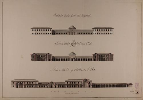 Alzado de la fachada principal y las secciones AB y CD de un hospital