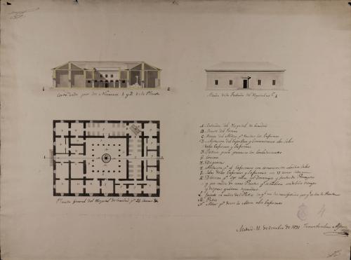 Planta, alzado de la fachada principal y sección 1-2 de un hospital de caridad de 24 camas para un pueblo