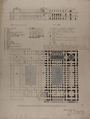 Mitad de las plantas baja y principal, del alzado de la fachada principal y de la sección de un hospital para 100 enfermos